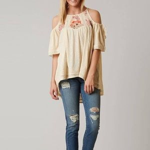 """FREE PEOPLE """"Fast Times"""" cream colored top Sz S& L"""